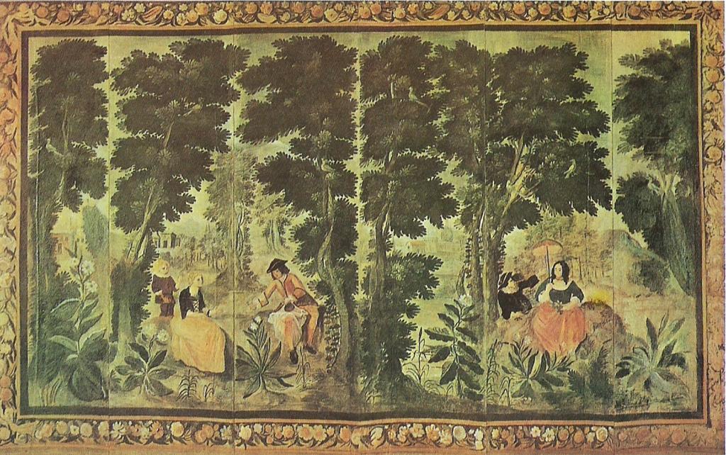 Paravent avec scenes champêtres et ornements,vers 1859, 250x402cm, NR1, coll privéé (Cézanne pourrati n'avoir peint que les figures sur un parvanet du XVIIIe siècle. Le paravent est utilisé comme décor dans de nobmreux tab leaux