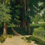 Les Marronniers et le Bassin du Jas de Bouffan, 1871 ? , 37x44cm, NR158 Londres; The Tarte Gallery ( le peintre est à peine sori du Mas)