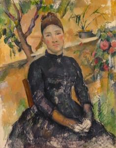 Madame Cézanne dan sla serre, 1891-92, 92x73cm, NR703, New York Metropolitan museum of Art.