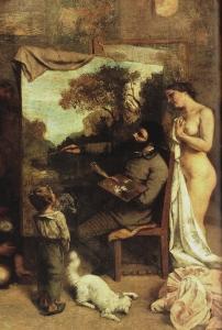 Courbet,L'Atelier du peintre , détail