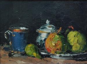 Sucriers, poires et tasses bleue, 1865x66cm, 30x41cm, Aix-en-Provence, musée Granet