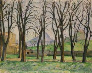 Sainte-Victoire vue à travers l'allée des marronniers au Jas de Bouffan, vers 1885, NR551, Minnéapolis