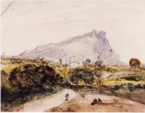 François-Marius Granet, Sainte-Victoire vue du Malvallat, aquarelle, 10x13cm, inv. 849-01-G207, Aix-en-Provence, Musée, Granet,photoTerlay