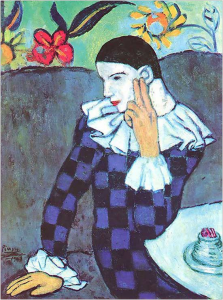 fig 29 Picasso, Seated Harlequin, 1901, New York, Metropolitan