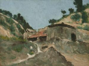 """Paysage avec moulin à eaux, vers 1871 d'après Rewald, 41,""""x54,3cm, NR183, Nerw Haven, Yale University Art Gallery"""