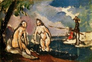 Baigneuses et pêcheur à la ligne, 1872, 14x21cm, NR231
