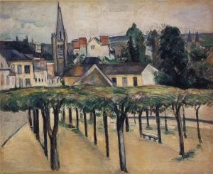 Melun, cathédrale Saint-Aspais, vue prise sans doute de l'appartemeten qu'occupait Cezanne, place e la Préfecture en 1879, 50,çx63cm, NR495, Phildephie Narnes Foundation