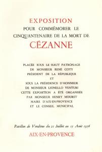 catalogue de l'exposition de 1956 pour le cinquantenaire de la mort de Cézanne (expostion présentée au Pavillon Vendôme, à Aix-en Provence)