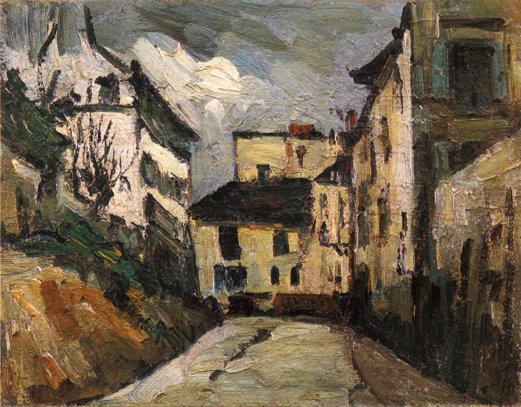 La rue des Saules à Montmartre, 1867-68, 31,5x39,5cm, NR131, coll.privée. La rue des Saules ne correspond à un quartier où Cezanne a habité dans Paris, mais la rue des Saules, tout près des vinges de Montmartre se situe tout proche d'una telier depeintres où Renoir, Guillaumin êingaient ( cet atelier est devenu le musée de Montmartre.