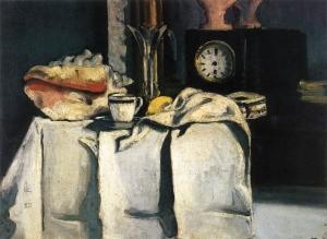 """La Pendule noire, 1867-69, 54x74cm, NR 136,cll privée Ce tableau a apprtenu à Zolaz : la pendule noire était la sienne. Cette pendule appartient à la """"maison Zola"""" à Médan"""