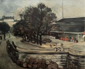 Paris, quai de Jussieu, la Halle aux vin, 1872, 73x92cm, NR179,coll. privée
