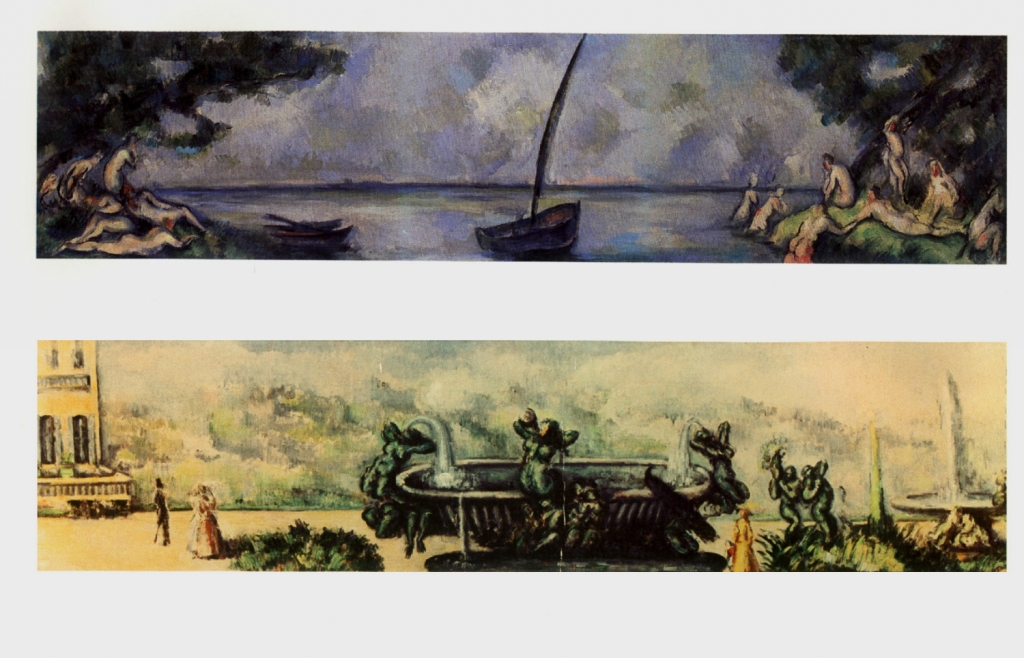 Décors peints à la demande de Choquet pour son appartemetn parisien:La Vasque au Paon (NR643, coll privée) La Barque et les Baigneurs, NR 644 (musée de l'Orangerie)