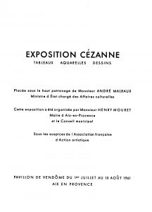 Catalogue de l'exposition Cézanne de 1961