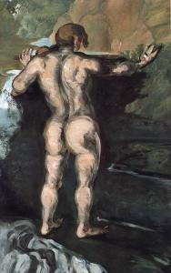 Cézanne, Baigneur vu de dos. NR 29 Ve tableau peint à l'origine à même le mur du Jas de Bouffan renvoie au tableau Les Baigneuses de Courbet.