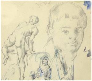 Page d'étude - Soldat au bain, 1873 - 1876-78, 1406 x 16,5 cm, C0356
