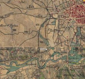 Fig. 3. L'Ensoleillée sur la carte d'Etat-Major de 1860