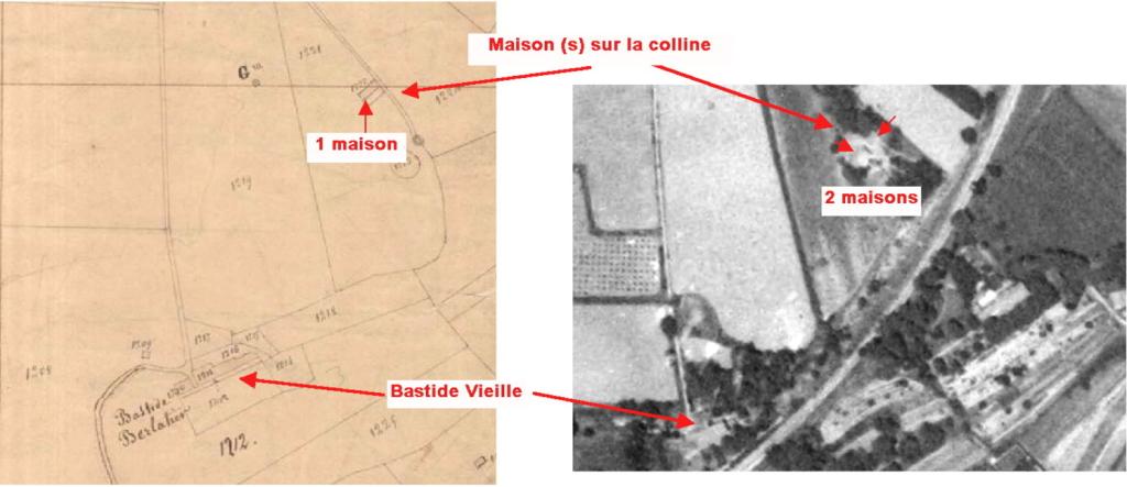 Fig. 14. Maisons (s) sur la colline en 1828 et 1958