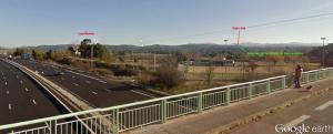 Fig. 2. Le sommet de la colline de Foncouverte sous la cote 630. Le pont sur l'autoroute est celui de la route de Valcros.