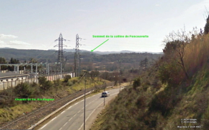 Fig. 5. Le sommet de la colline de Foncouverte vu du pont de l'autoroute