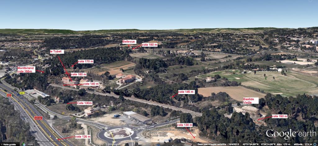 Fig. 2 . Le flanc du plateau de Valcros avec la colline plus escarpée à gauche.