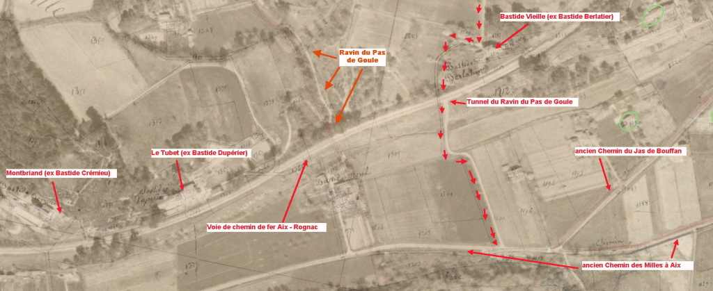 Fig. 29 . Superposition carte aérienne de 1959 avec le cadastre napoléonien