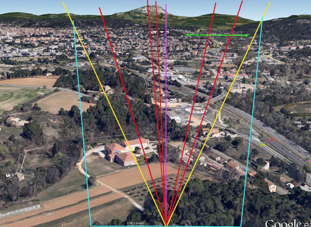 Fig. 34 Report sur image 3D prise à 290m de haut