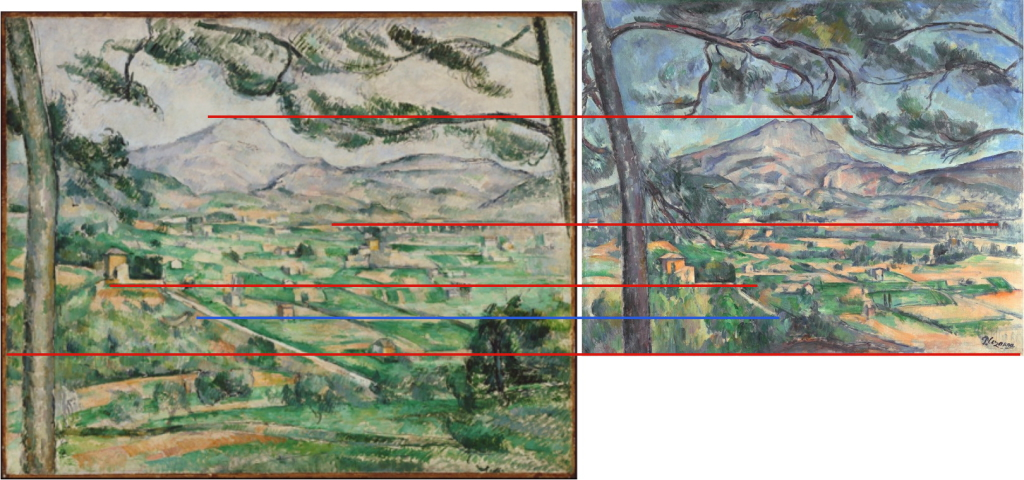 Fig. 44 : Alignement des plans rapprochés par rapport à la Montagne Sainte-Victoire