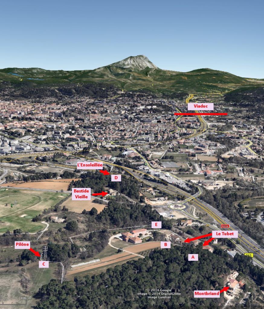 Fig. 62. Positions possibles de Cézanne pour R695 (vue face à la montagne Sainte-Victoire)