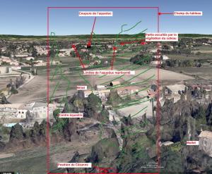Fig. 18. Ligne d'horizon vue du sud de la route des Pinchinats