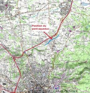 Fig. 3. Position du pont-aqueduc de Calèche sur la carte IGN