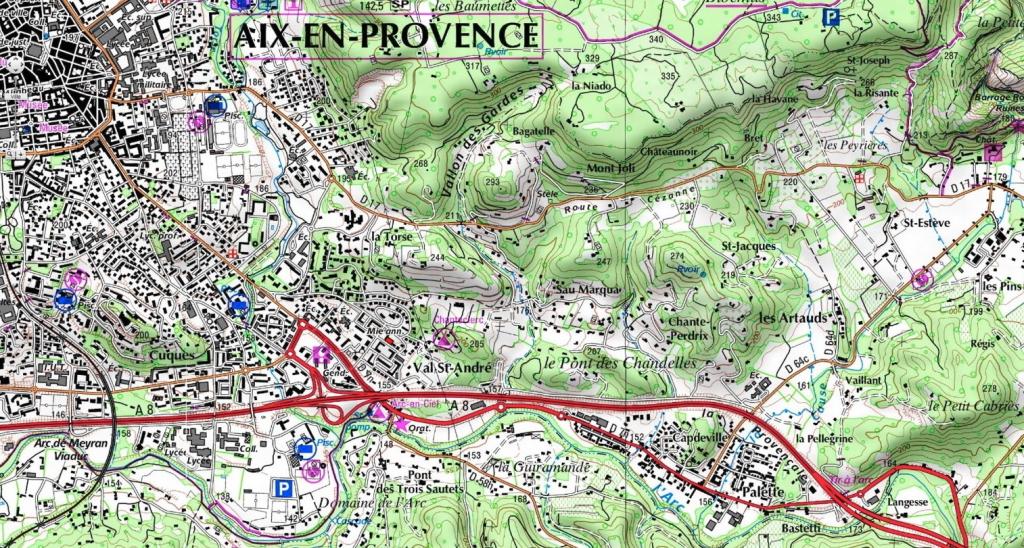 Fig. 2. Les collines de l'est d'Aix, du viaduc au Petit Cabriès.