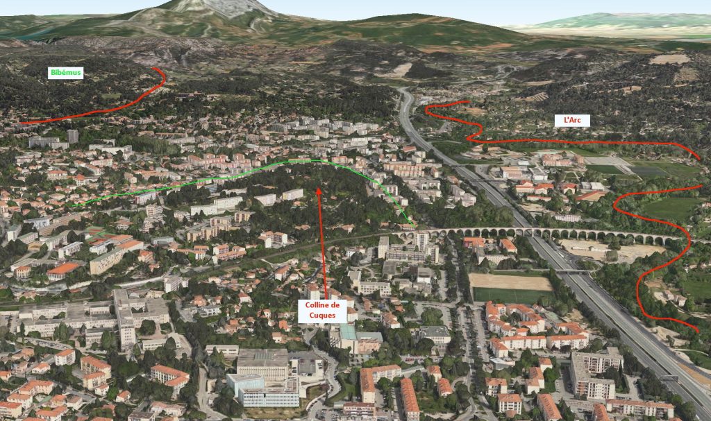 Fig. 3. La colline de Cuques (reconstitution 3D logiciel Plan).