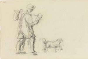 Paysan avec chien, 1876-1879, 12,6 x 20,7 cm, C0454
