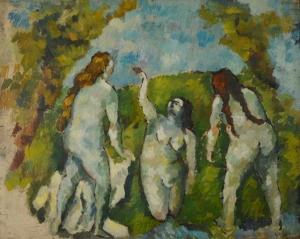 Emile Bernard, Trois baigneuses, huile sur papier marouflée sur panneau 50 x 60 cm