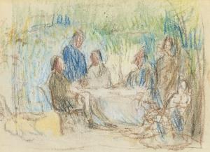 C0224 Autour d'une table au jardin c68