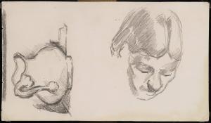 C0952 Page d'études, cruche et tête de femme (Mme Cézanne) 85-87