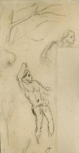 Études d'arbres et de personnages, 1865-70, 1871-74 et 1892-99, 25 x 12,7, non catalogué