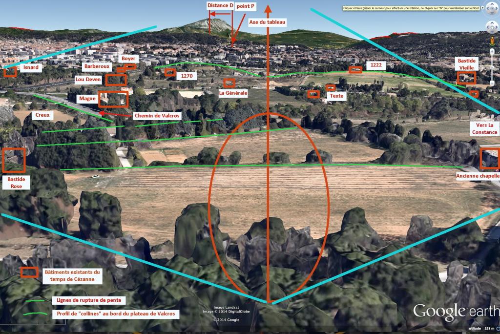 Fig. 64. R397 Les différentes constructions du plateau visibles de la zone de recherche