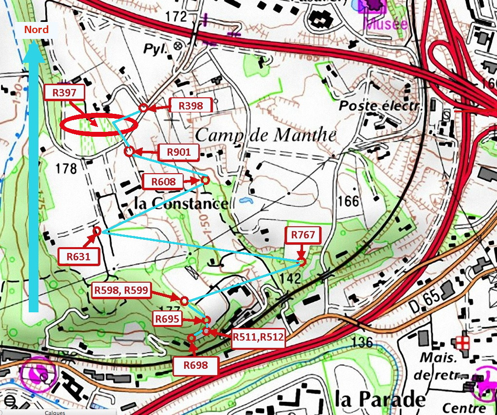 Fig. 66. Positionnement des Siante-Victoire de Valcros sur carte IGN