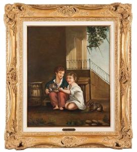 Les deux enfants, d'après Proud'hon, vers 1860, 55 x 45 cm, R015