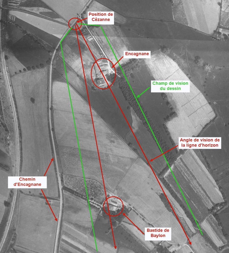 Fig. 10 bis. Photo aérienne 1934 de l'angle de vision de la ligne d'horizon