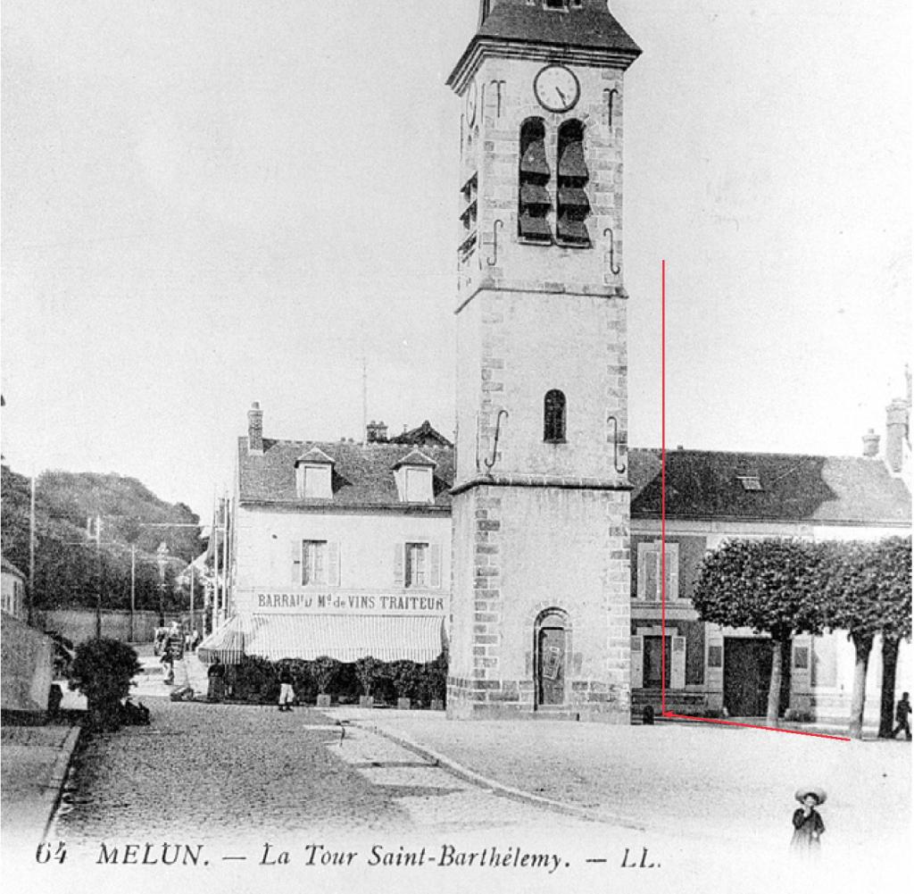 Fig. 14. Position des arbres sur le haut de la place (1915)