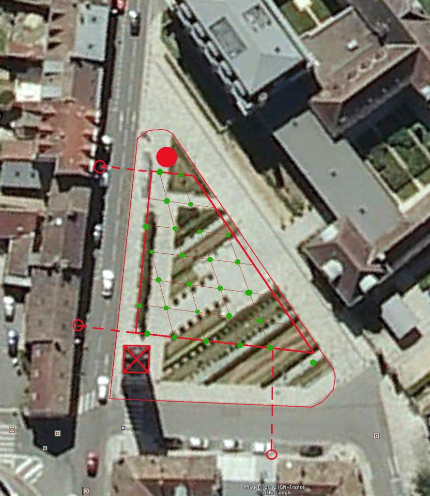 Fig. 25. Implantation des arbres de la Place de la Préfecture