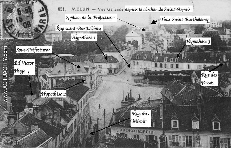 Fig. 3. Vue de la place de la Porte de Paris depuis le clocher de Saint-Aspais