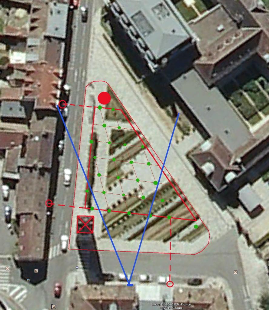 Fig. 35. Angle de vision sur les arbres de la place depuis la 4e fenêtre
