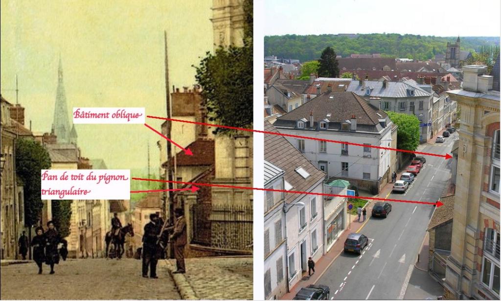 Fig. 55. Identification des deux bâtiments situés derrière les arbres de la place