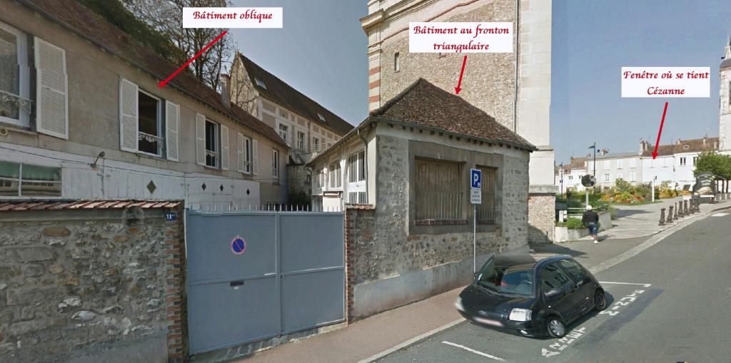 Fig. 55ter. Identification des deux bâtiments situés derrière les arbres de la place