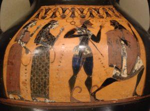 Fig. 1. 560-550 av. J.-C, Jugement de Pâris. Face A d'une amphore attique à figures noires, Musée du Louvre.