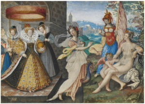 Fig. 24. 1590 Isaac Oliver, Elizabeth I and the Three Goddesses
