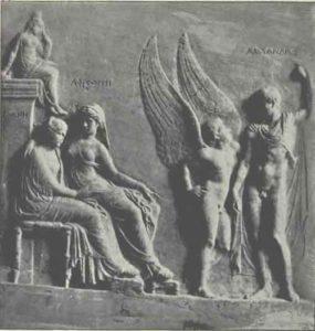 Fig. 3. Fin du 1er siècle avant J.-C. Aphrodite présente Hélène à Pâris (nommé Alexandros). Musée de Naples